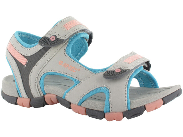 Hi-Tec GT Strap Chaussures Enfant, cool grey/curacou blue/ papaya punch